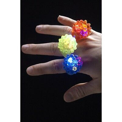Girl's Assorted Colour Flashing LED Jelly Ring Fancy Dress Kids Party Fun Gifts