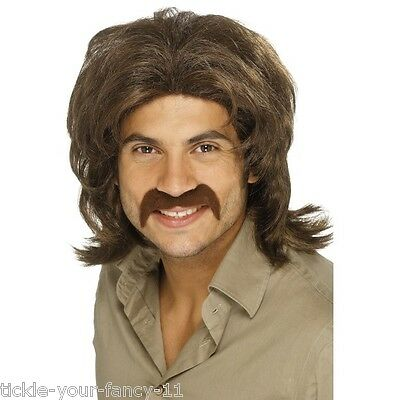 Men's 1970's Brown Retro Fancy Dress Wig Boogie Nights Film Stag Fun Theme Music](Boogie Nights Costume)