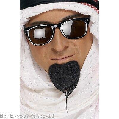 Arabian Theme Dress (Men's Arab Sheikh Fancy Dress Beard & Black Glasses Dubai Prince Stag Fun Theme)