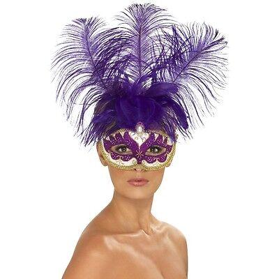 Women's Masquerade Purple Can Can Beauty Eye Mask & Feather Fancy Dress Mask Hen](Burlesque Beauty Halloween Costume)