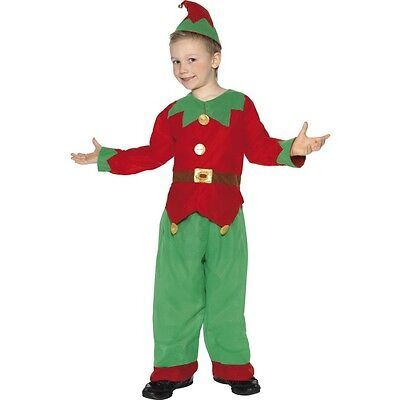Boy's Child's Elf Costume Santa Helper Children Fancy Dress Xmas Shop Worker