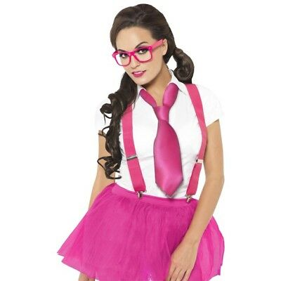 Women's Glam Pink Geek Kit Glasses Braces Tie School Girl Fancy Dress Hen Night