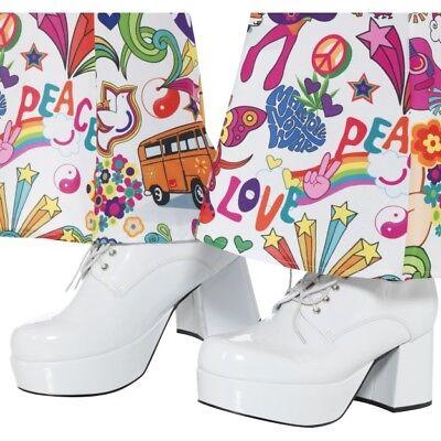 Weiß 70er Herren Plateauschuhe Disco Tanzen Retro Kostüm (Weiße Kostüm Schuhe)