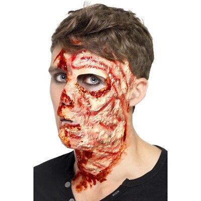 Men's Burnt Face Fancy Dress Scar Latex Flesh & Adhesive Halloween Stage Make Up](Men Pirate Halloween Makeup)