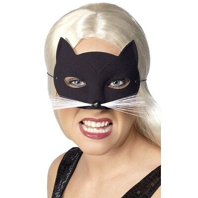 Womens Cat Eye Mask w Whiskers Fancy Dress Animal Black Costume Sexy Fun Ladies ()