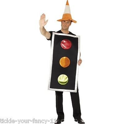 Men's Fancy Dress Traffic Light Costume With Cone Hat Construction Worker Fun