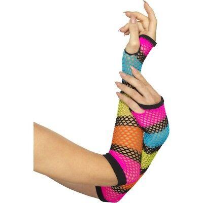 Multi Fischnetz Handschuhe Lang Regenbogen Neon Black Streifen Kostüm