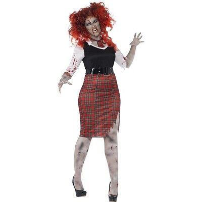Women's Curves Curvy Zombie School Girl Halloween Fancy Dress Costume Hen Fun
