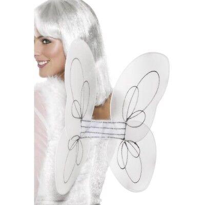 Weiß Silber Engel Flügel Fee Glitzer 50 X 30cm Erwachsene Kostüm Zubehör ()