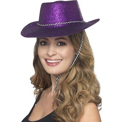 12 x Cowgirl Purple Glitter Hats Fancy Dress Hen Stag USA Texas Cowboy Western