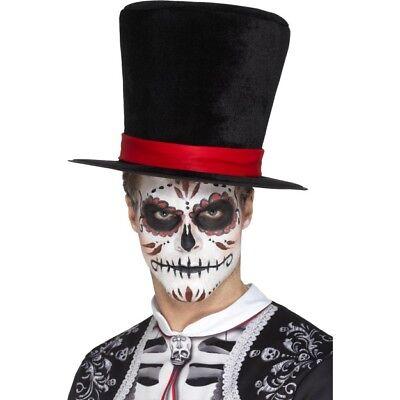 Schwarz Tag der Toten Skelett Zylinder Rotes Band Kostüm Zubehör