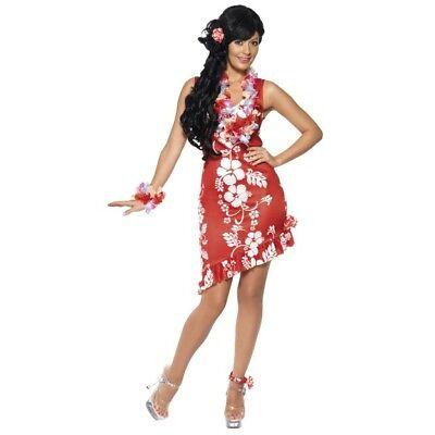 Women's Hawaiian Beauty Costume Red Dress Hairpiece & Anklet Hen BBQ Summer Fun