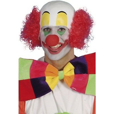 Mens Clown Rubber Top Wig Red Hair Fancy Dress Ronald McDonald IT Circus Funny