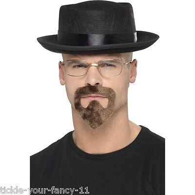 Men's Breaking Bad Fancy Dress Set Hat Glasses & Goatee Walter White Heisenberg