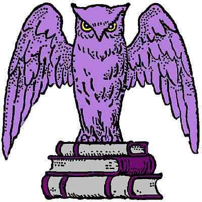 30 Custom Purple Book Owl Personalized Address Labels