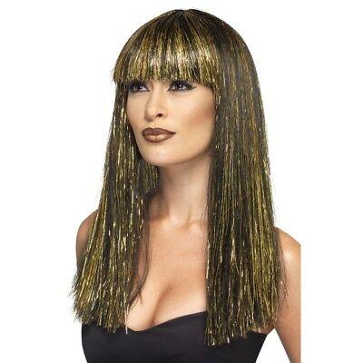 Ägyptische Göttin Perücke Damen Schwarz & Gold Kostüm Kleopatra Perücke