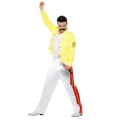 Freddy Mercury Queen Rock Star Costume Adult 80s Fancy Dress Large 42-44