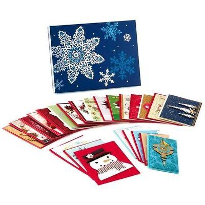 New Mark Assorted Handmade Christmas Cards, Box of 24 Glitter, Foil, 3D Card