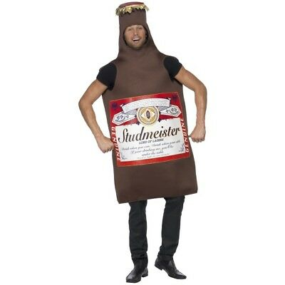 Bottle Of Beer Costume (Men's Bud Beer Bottle Lord Of The Lagers Fancy Dress Costume Stag Night Party)