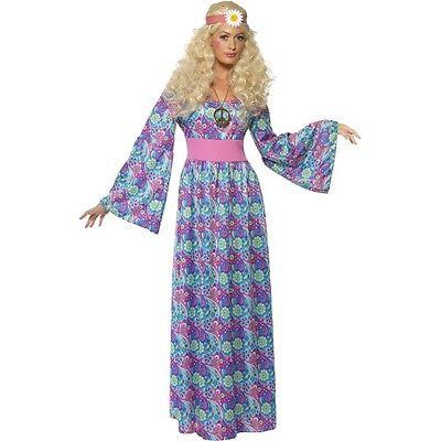 Ladies Girls Flower Child Maxi Dress Hippy Costume 60s & 70s Plus Size UK 8-22