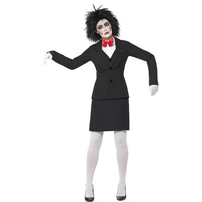 Women's Licesend Saw Jigsaw Costume Halloween Movie Fancy Dress Black Scary