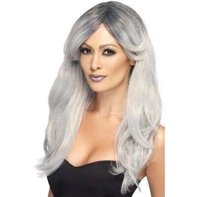 Gris Tresillo Fantasma Zombie Novia Peluca Disfraz Mujer Halloween Nuevo