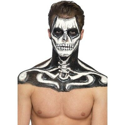 Women's Men's Skeleton Fancy Dress Makeup Kit Black White Liquid Latex Face Art](Halloween Makeup Skeleton Man)