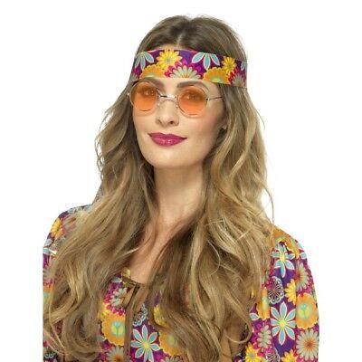 Hippie Brille 1960s Jahre Hippy Retro 60s Kostüm Zubehör Herren Damen orange