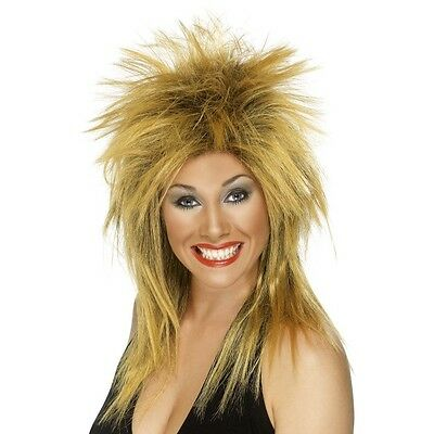 Women's Tina Turner Rock Diva Fancy Dress Wig Two Tone Ginger Black Long - Tina Turner Fancy Dress Kostüm