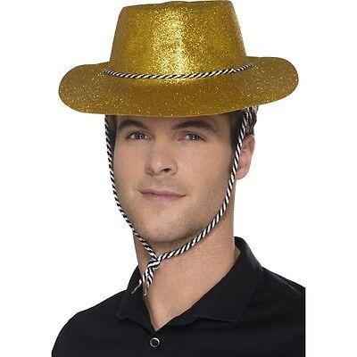 12 x Men's Gold Glitter Cowboy Fancy Dress Hats American USA Western Stag Theme