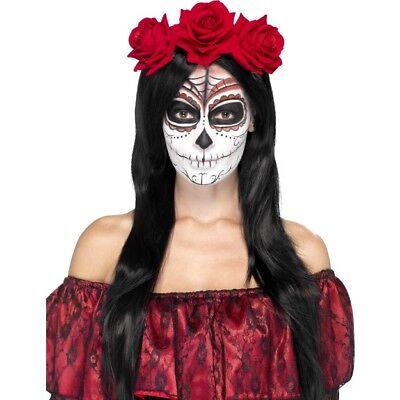Tag der Toten Stirnband Erwachsene Damen Kostüm Verkleidung Zubehör Neu ()