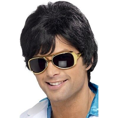 Mens 70's Shag Wig & GLASSES Set Fancy Dress Elvis Music Stag Disco Dance King