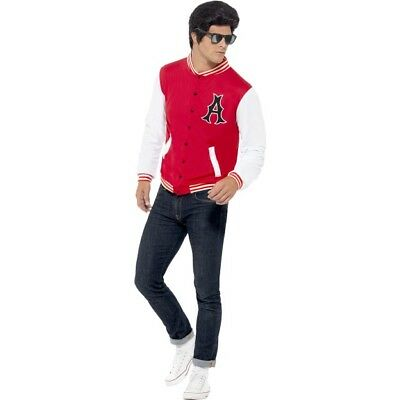 Mens Boys Unisex 50's College Jock Letterman Jacket Fancy Dress School Costume