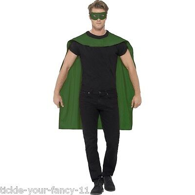 Men's Green Fancy Dress Cape & Eye Mask Super Hero Phantom Stag Theme Latern Fun