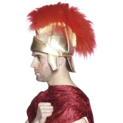 Men's Roman Soldiers Helmet Gold & Plume History Fancy Dress Warrior Rome 300