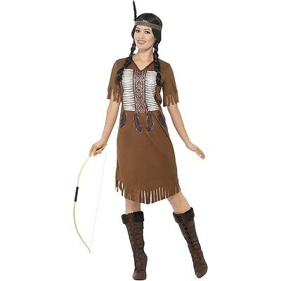 Women's Wild West Indian Native Princess Brave Fancy Dress Costume Hen Theme (Western Themen Fancy Dress Kostüm)