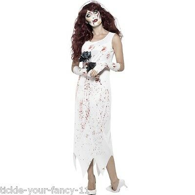 Women's Zombie Bride To Be Halloween Fun Fancy Dress Costume Dress Gloves & Veil (Bride To Be Halloween Costume)