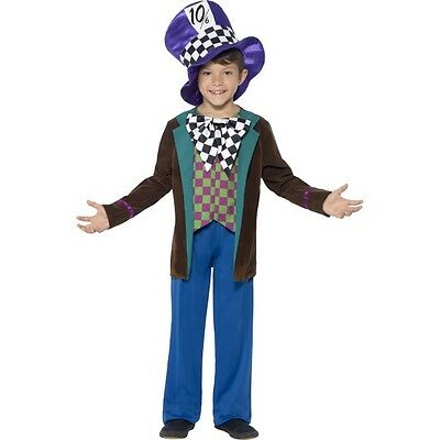 Boy's Deluxe Mad Hatter Fancy Dress Costume World Book Day Tea Party Wonka Fun - Deluxe Tea Party Hatter Costume