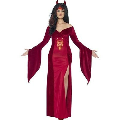 Women's CURVES Devil Witch Costume Horror Halloween Fun Party UK Plus Size 16-30