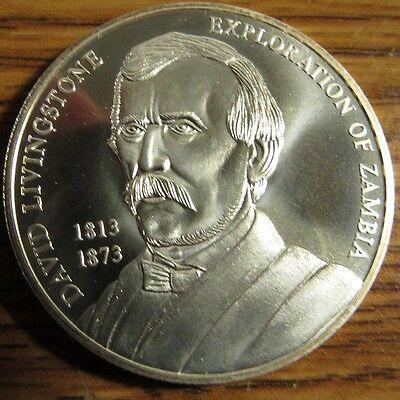 2002 Zambia David Livingstone 1000 Kwacha 1 Troy Oz. Sterling Silver Coin