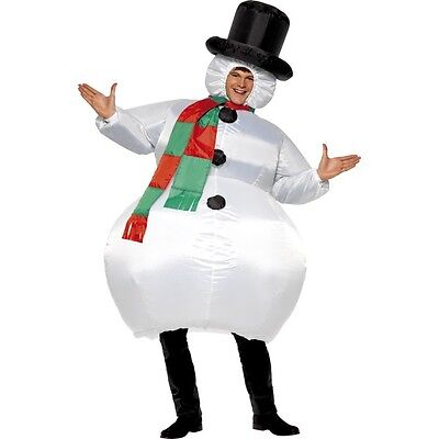 Christmas Themed Costumes (Men's Women's Inflatable Snowman Fancy Dress Costume Festive Hen Stag Theme Fun)