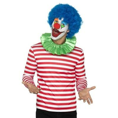 Men's Clown Fancy Dress Costume Jumper Blue Wig Green Ruffle Stag Theme Circus](Carnival Themed Costumes)