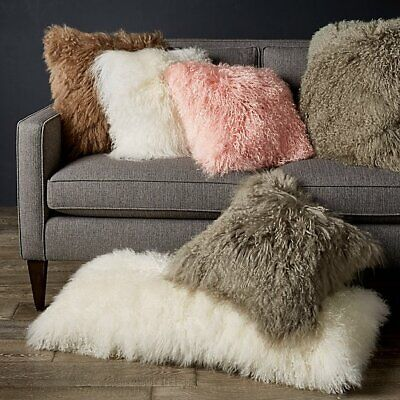 Mongolian Luxury Collection Tibetan Lamb Fur Square Decorative Pillow 18