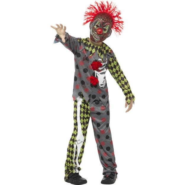 Deluxe Twisted Clown Costume Boys Horror Halloween Fancy Dress Outfit