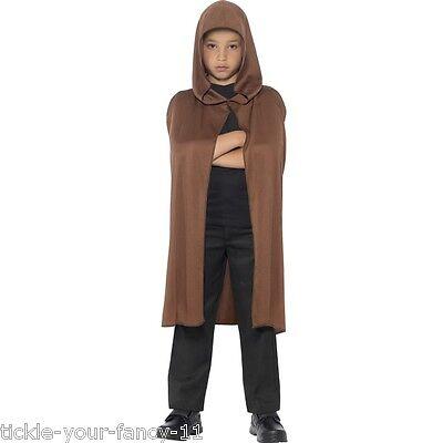 Boy's Kids Brown Hooded Cape Monk Grave Keeper Halloween Cloak Fancy Dress Party