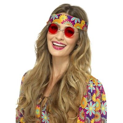 Hippie Brille 1960s Jahre Hippy Retro 60s Jahre Kostüm Zubehör Herren Damen Rot