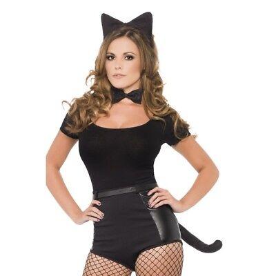 Women's Naughty Cat Kit Ears Tail Bow Tie Hen Night Fancy Dress Kitty Pussy - Kitty Kostüm Kit