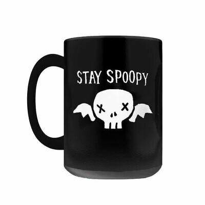 STAY SPOOPY Coffee Mug, 11oz/15oz Black Funny Halloween Skull Spooky Meme
