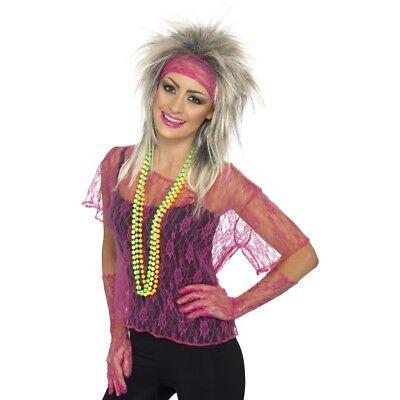 Spitze Netz Sofort Set 1980s Jahre Disco Kostüm Zubehör 80s Intensives Rosa