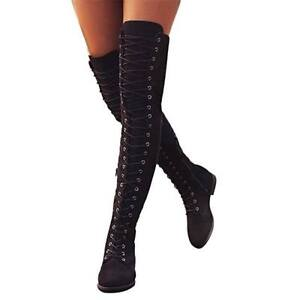 Black Faux Suede Over the Knee High Boots